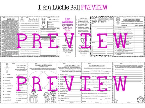 I am Lucille Ball by Brad Meltzer Literature Activities