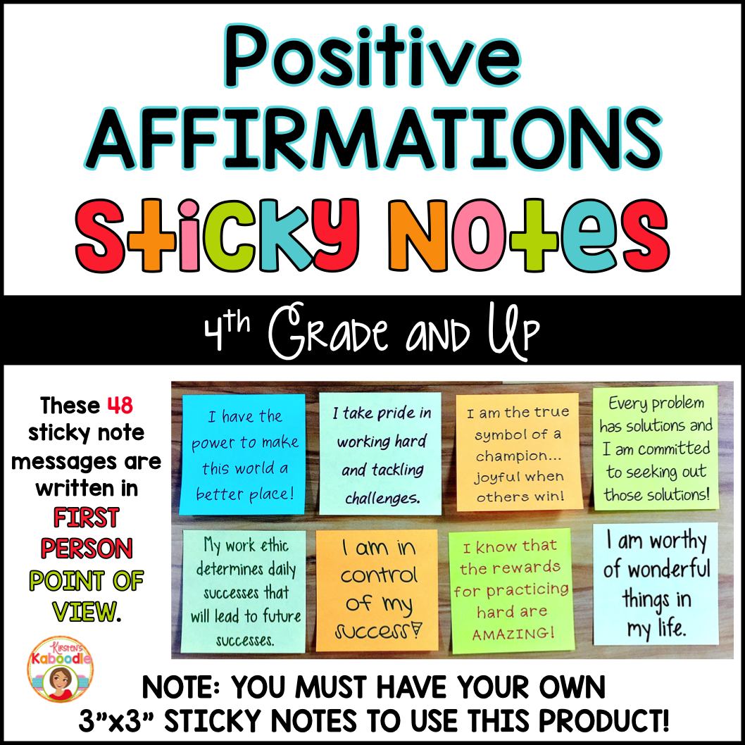 Positive Affirmations Sticky Notes for Upper Grades