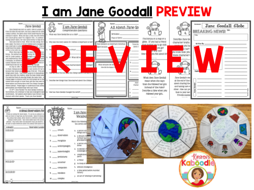 I am Jane Goodall by Brad Meltzer Literature Activities