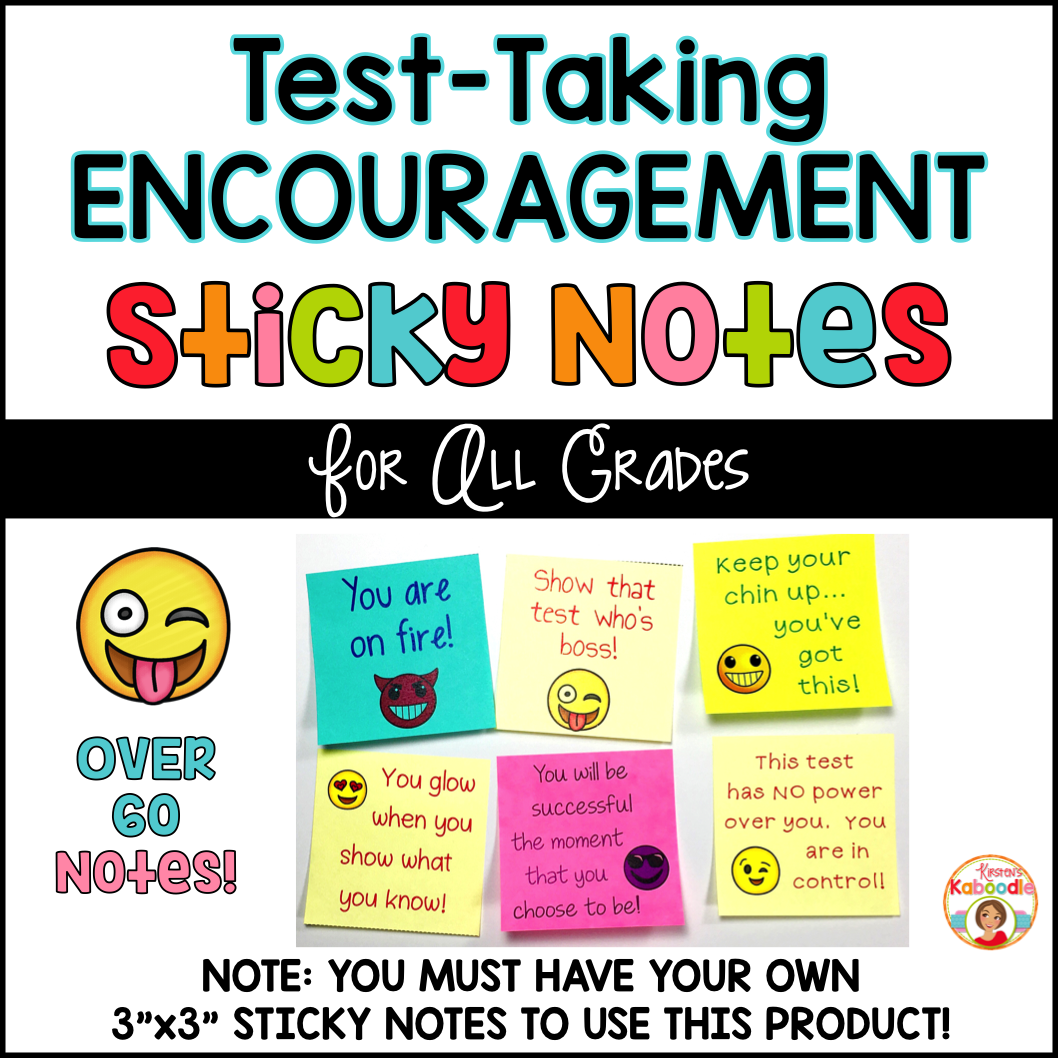 Test-Taking Encouragement on Sticky Notes - Emoji Themed
