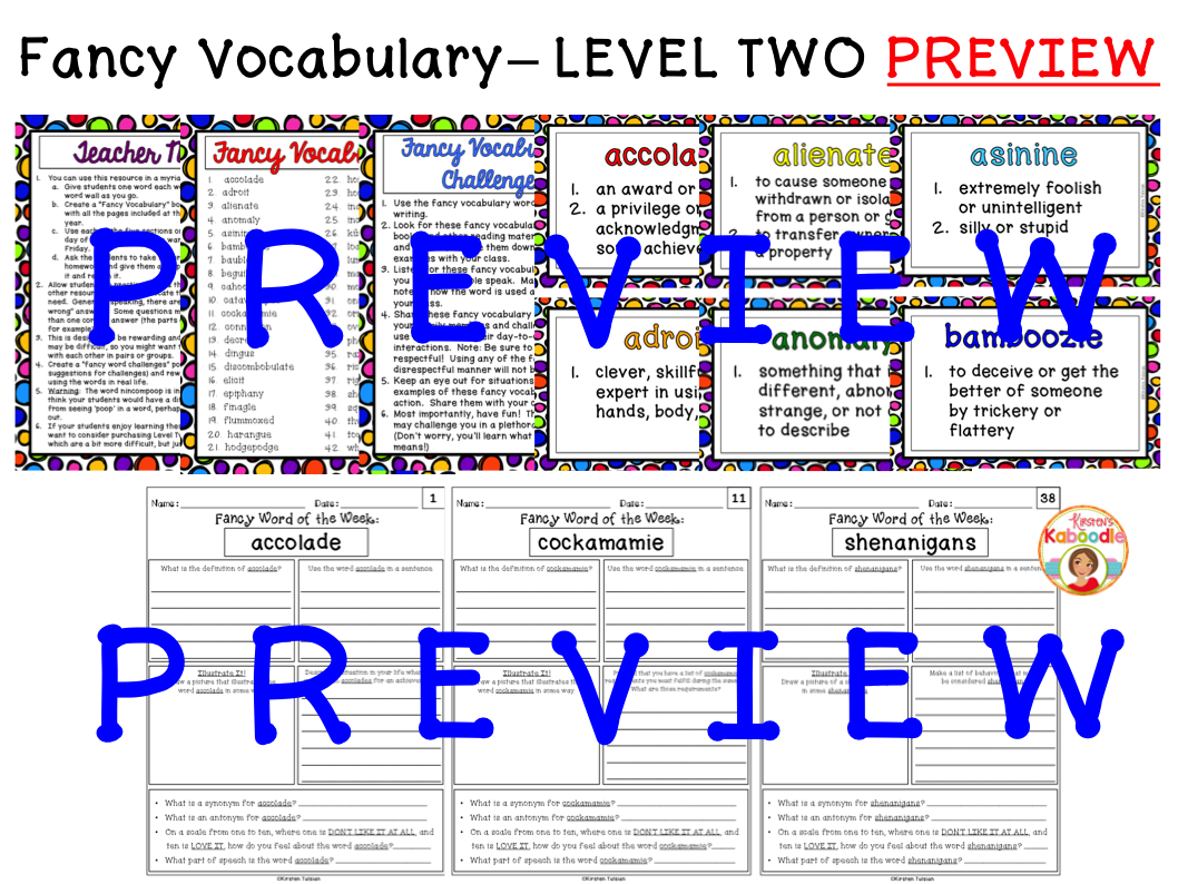 Word Collector Fancy Vocabulary: Word of the Week for 4th-7th Grade