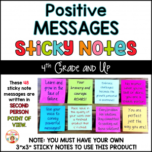 Positive Messages on Sticky Notes for Upper Grades