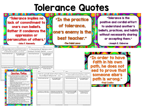 Tolerance Quotes Posters and Activities