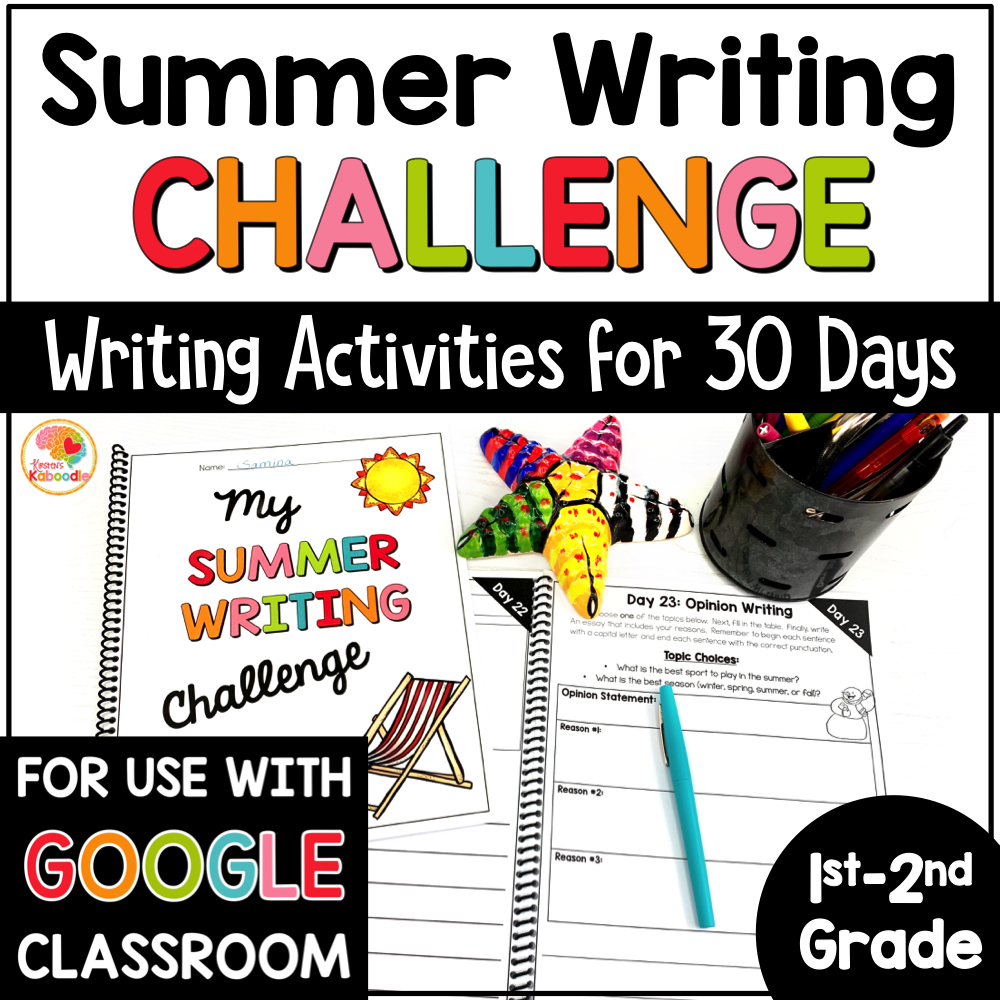 Summer Writing Challenge for 1st and 2nd Grade: Summer Writing Prompts COVER