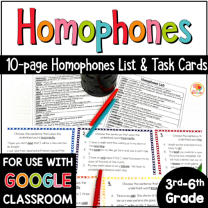 Homophones Activities, Task Cards, and Lists for Upper Grades with Digital Option in Google COVER