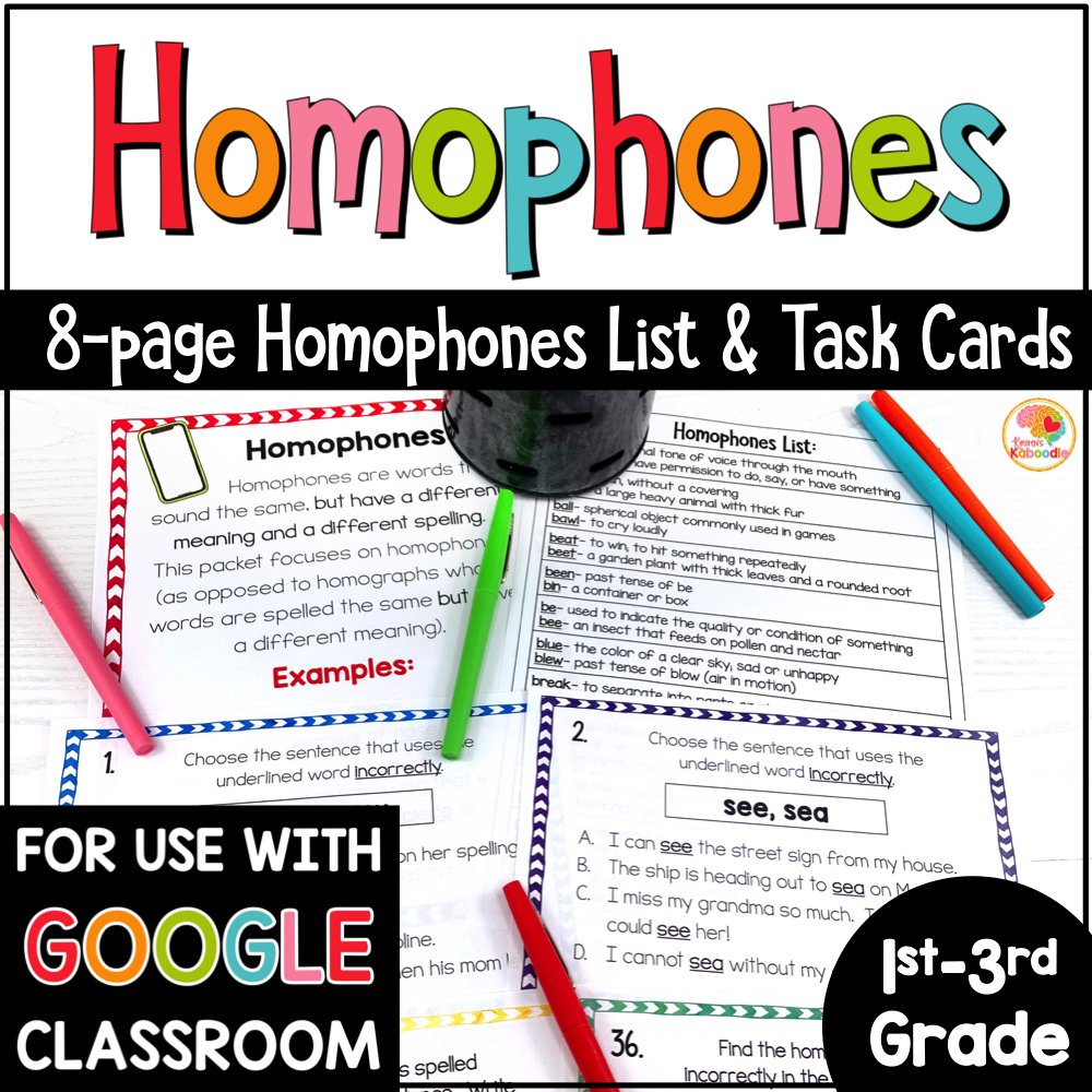Homophones Lists and Task Cards Activities for Primary Grades COVER