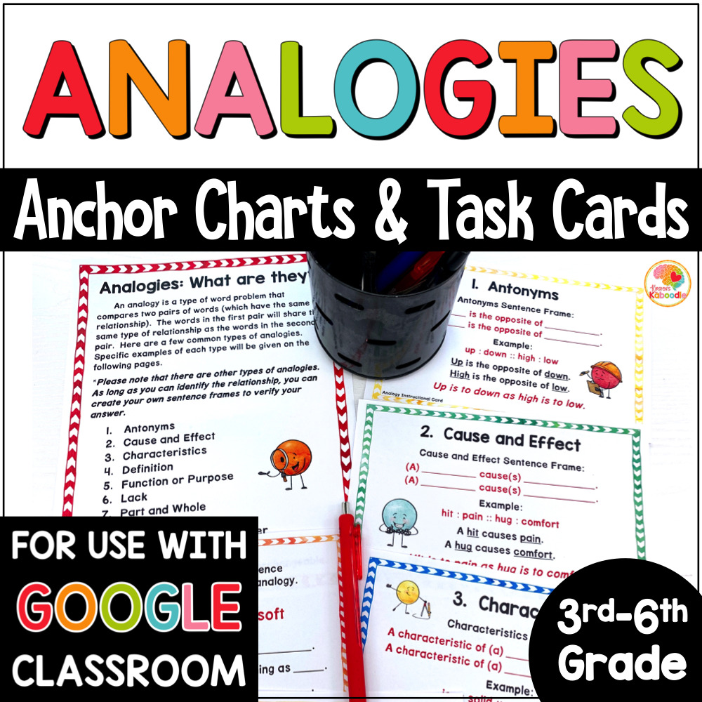 Analogies Task Cards and Anchor Charts Activities COVER