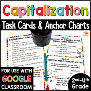 Capitalization Practice Activities Task Cards and Anchor Charts COVER