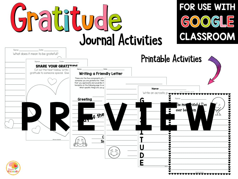 Gratitude Activities and Gratitude Journal for Kids PREVIEW