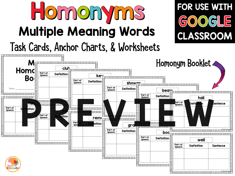 Multiple Meaning Words: Homonyms Activities Task Cards Worksheets PREVIEW