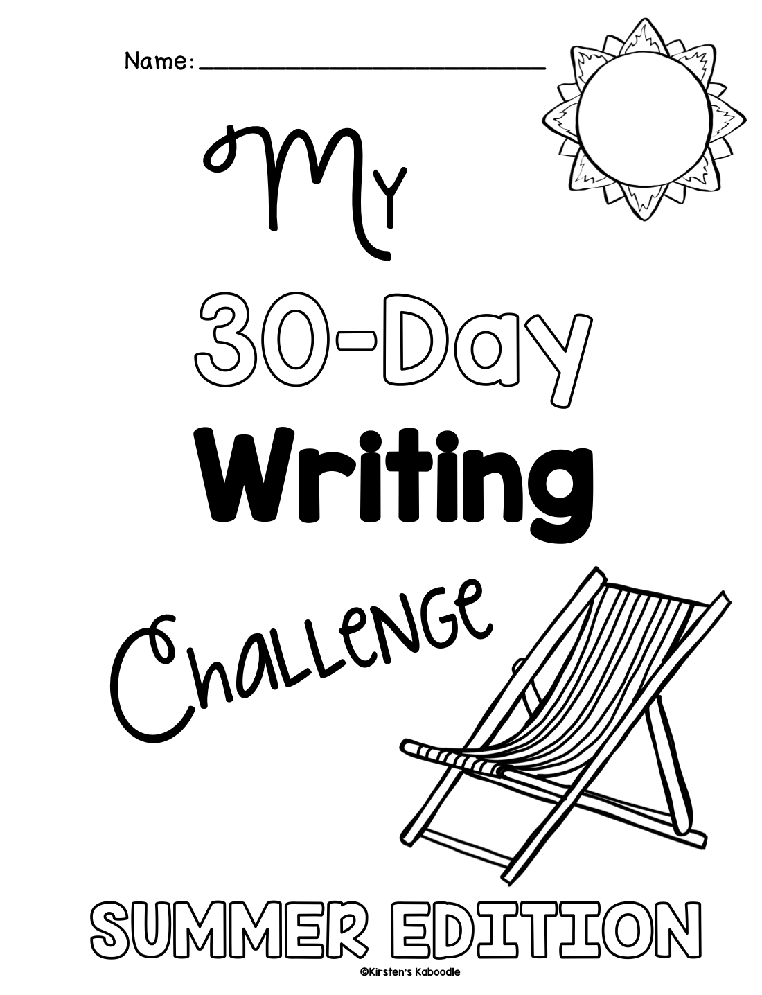 30 Day Summer Writing Challenge for 1st and 2nd Grade