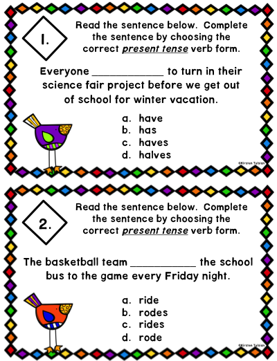 Subject-Verb Agreement Anchor Charts and Task Cards