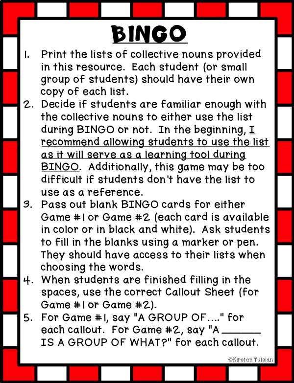 Collective Nouns List and BINGO Game