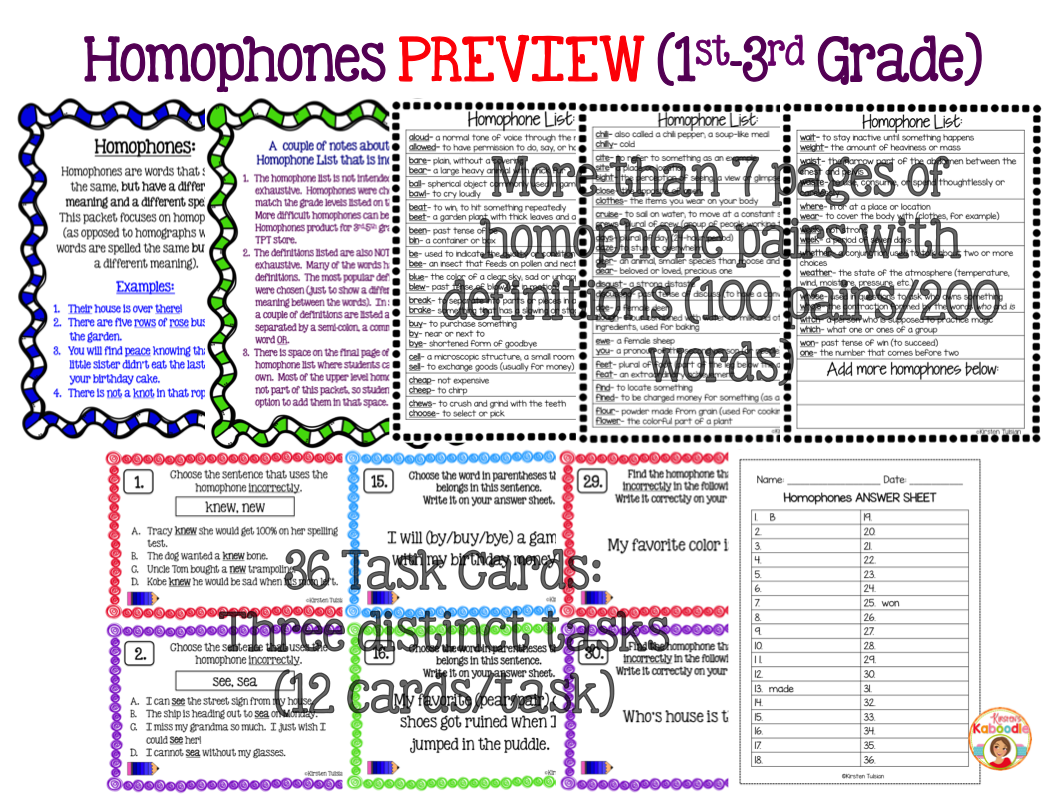 Homophones Activities: List, Task Cards, & Anchor Charts for Lower Grades