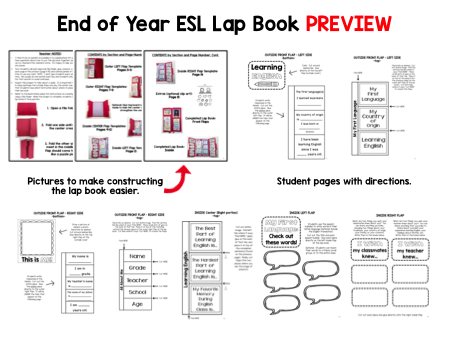 End of Year Reflections for English Language Learners - Lap Book