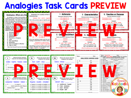 Analogies Task Cards and Anchor Charts