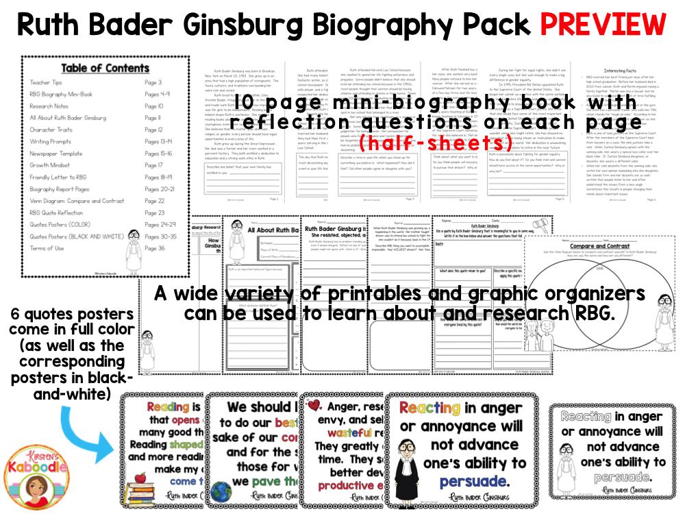 Ruth Bader Ginsburg - Nonfiction Text Unit