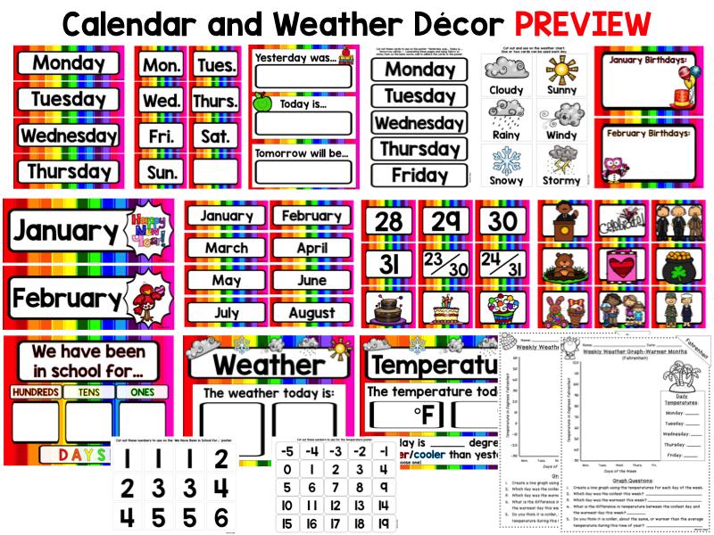 Calendar and Weather Set - Rainbow Theme