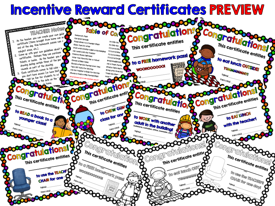No Cost Student Reward Certificates