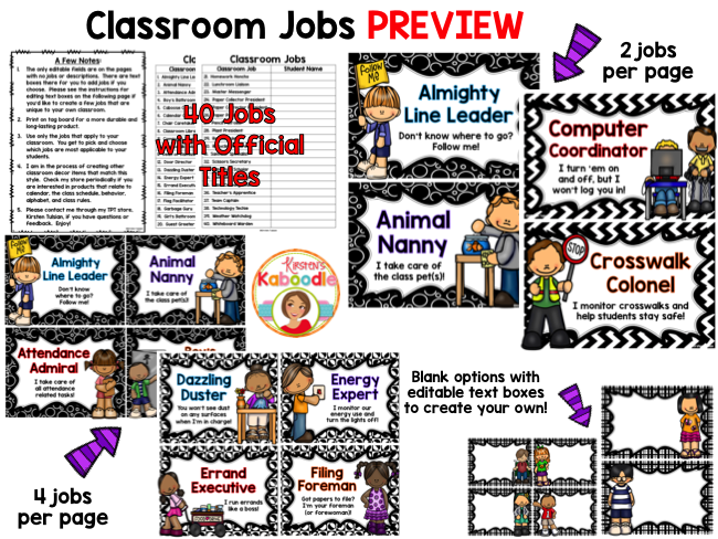 Classroom Jobs - Black and White Theme