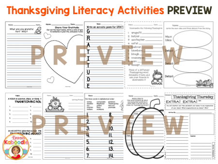 Thanksgiving Literacy Activities - NO PREP