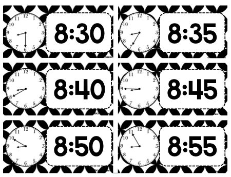 Classroom Schedule Cards and Clocks - Black and White Theme