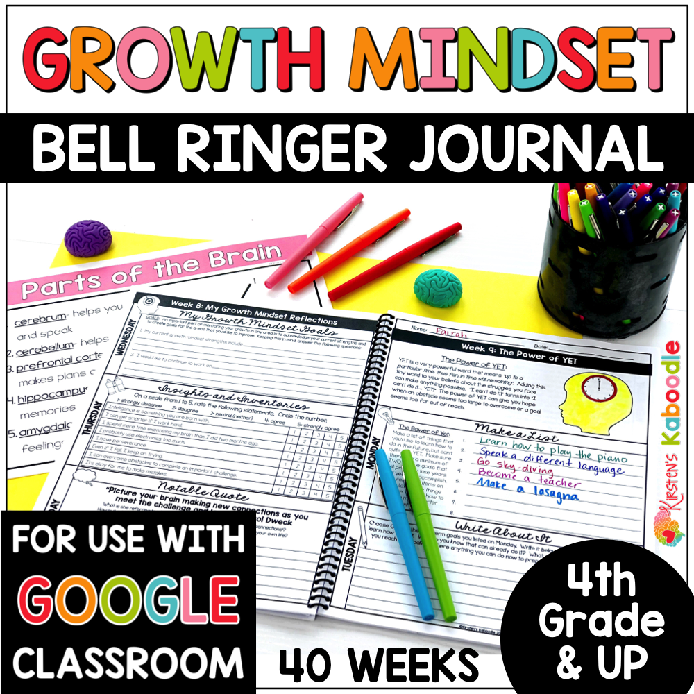 Growth Mindset Bell Ringers for 4th and Up COVER
