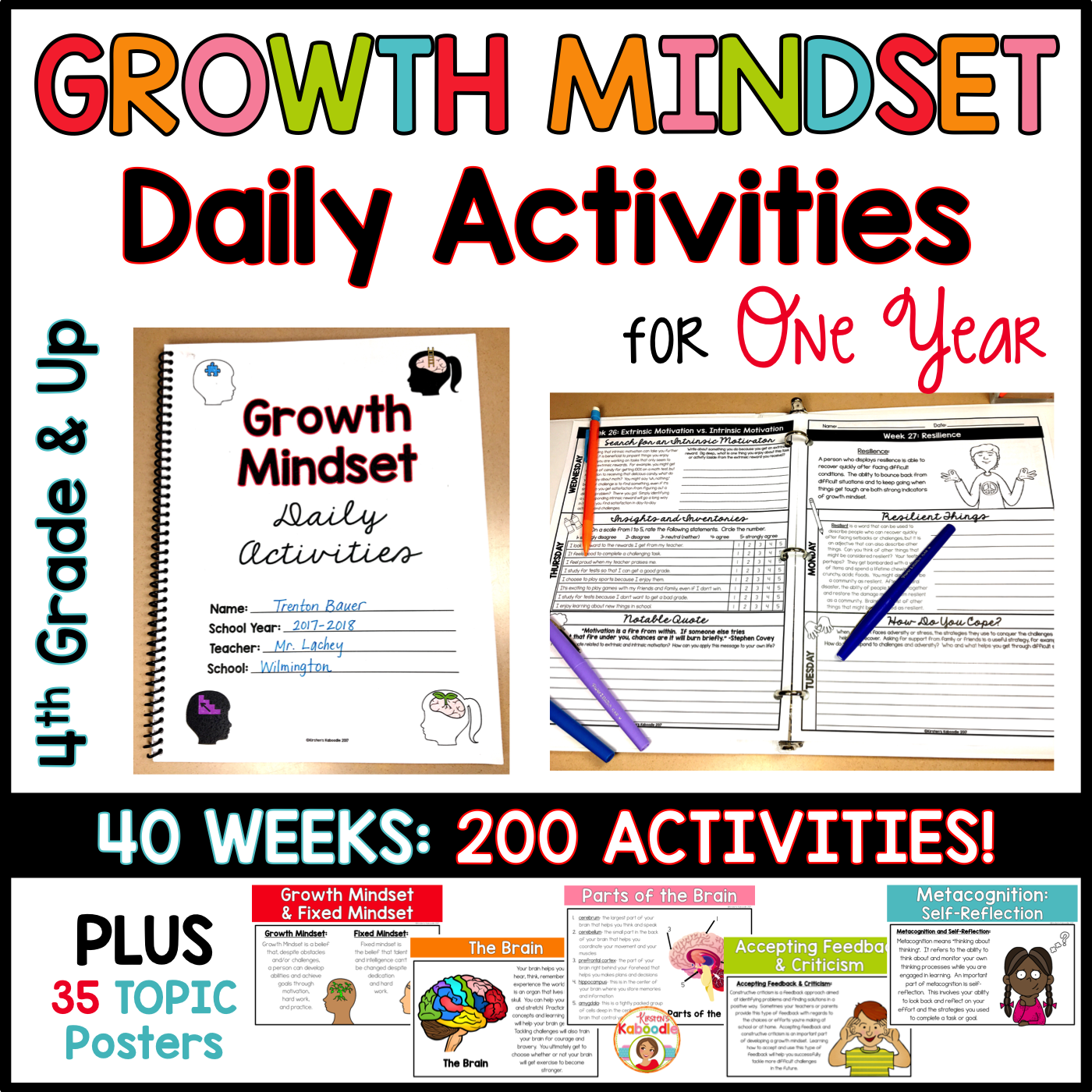Growth Mindset Activities for ONE YEAR - 200 Days of Instructional Warm-Ups