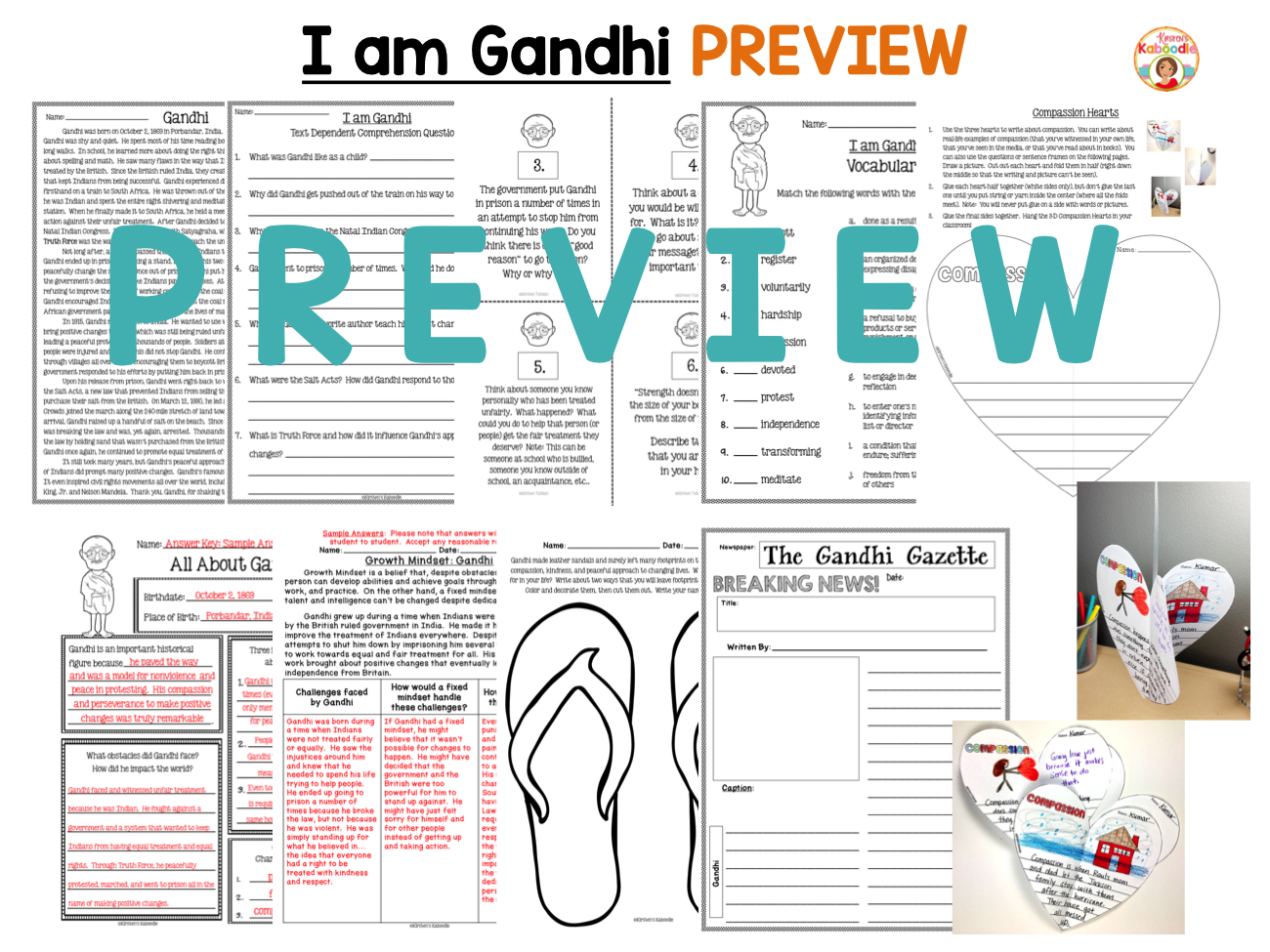 I am Gandhi by Brad Meltzer Literature Unit Activities