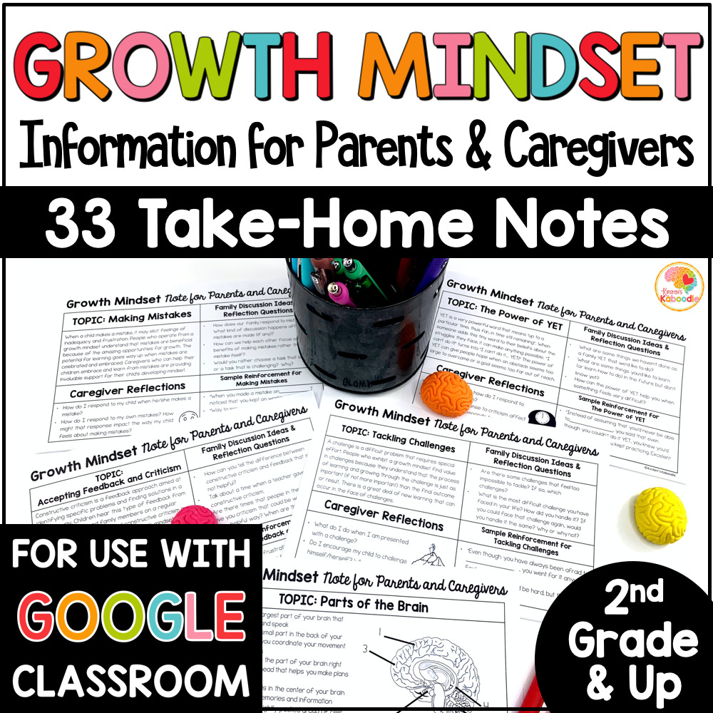 Growth Mindset Information for Parents and Caregivers Take Home Notes COVER