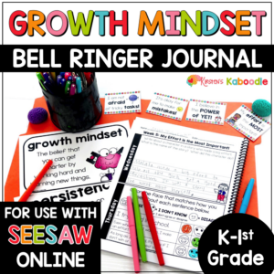 Growth Mindset Bell Ringer Warm-Ups for Kinder and 1st Grade with Digital Option in SEESAW COVER