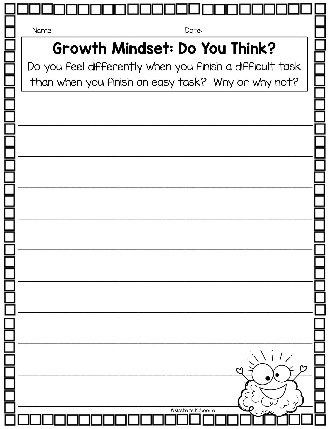 Growth Mindset Journal Prompts for 1st-3rd Grrade