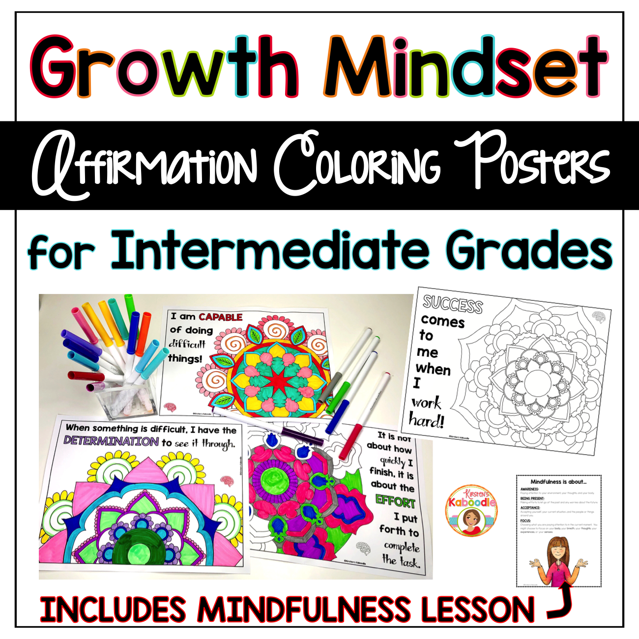 Growth Mindset Coloring Pages - Affirmations for Upper Grades