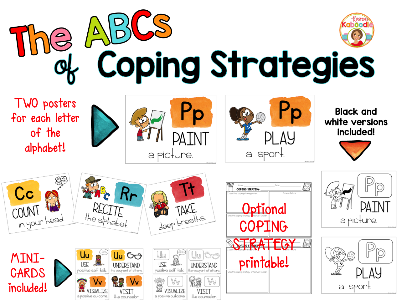 Coping Strategies Posters - The ABCs of Coping Strategies