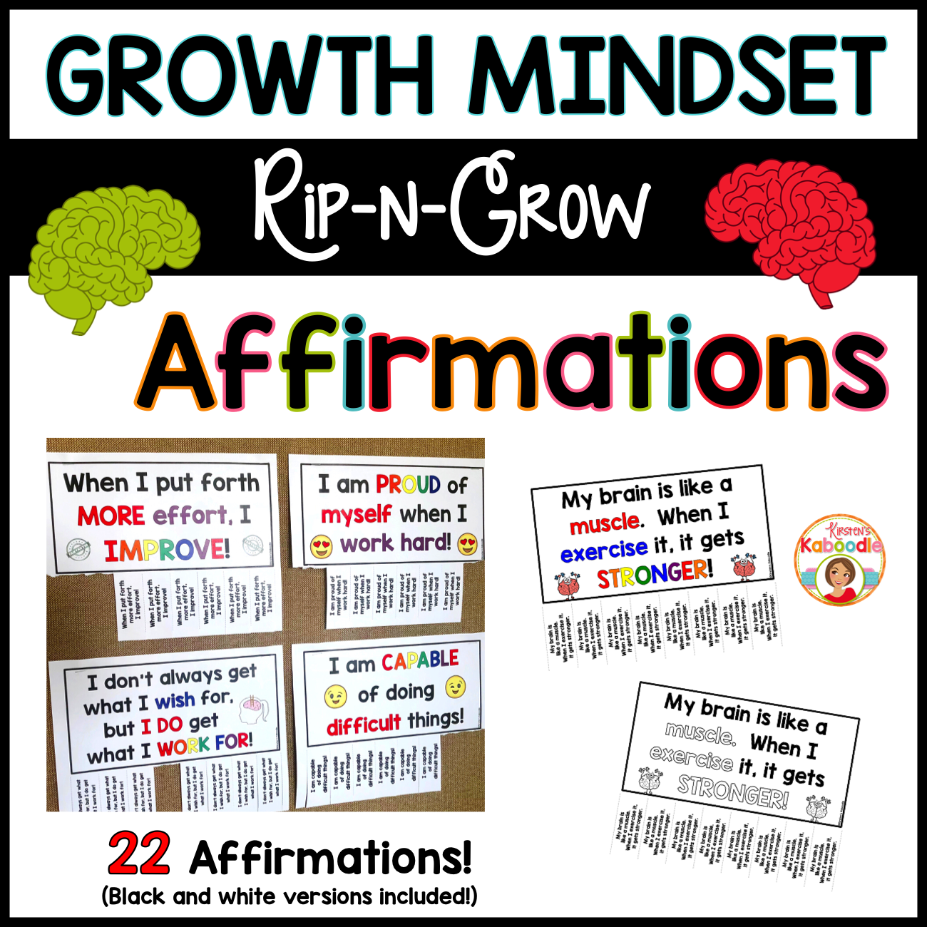 Growth Mindset Posters: Rip-n-Grow Affirmations