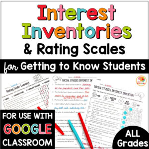 Getting to Know You Activities Interest Inventories and Rating Scales COVER