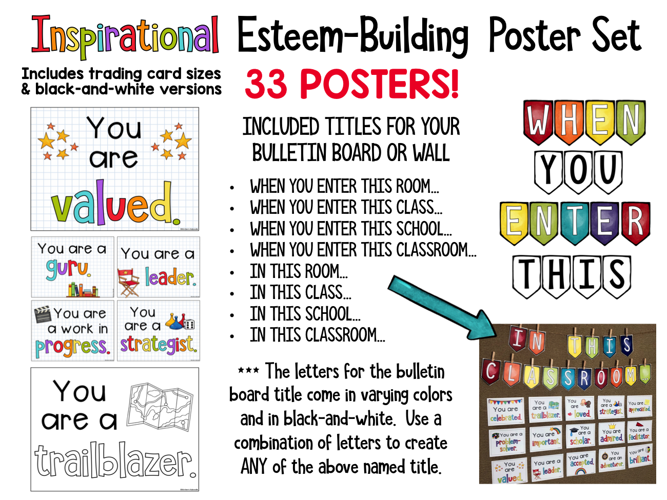 Inspirational Esteem-Building Poster Set