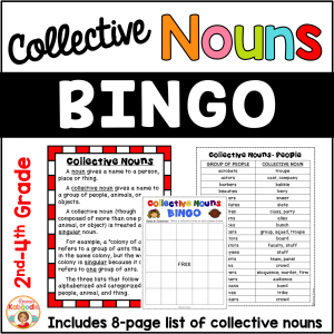 Collective Nouns List and BINGO Game