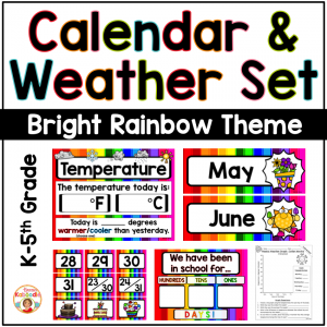 Calendar and Weather Set - Rainbow Theme