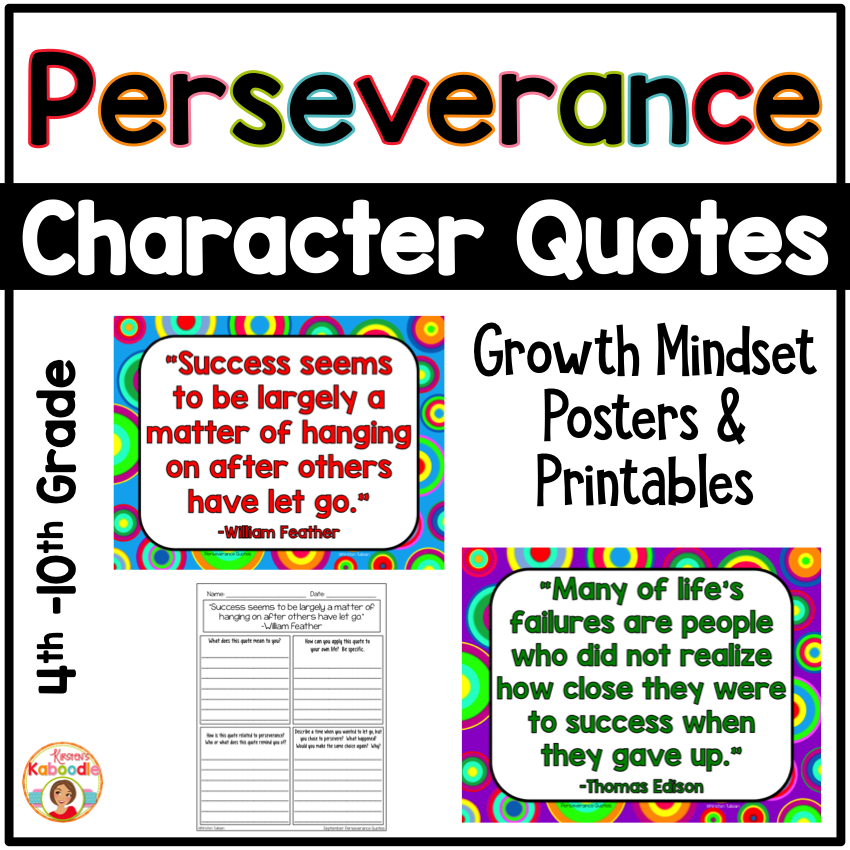 Perseverance Quotes Posters and Printables for Growth Mindset