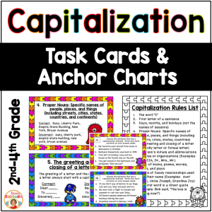 Capitalization Task Cards and Anchor Charts