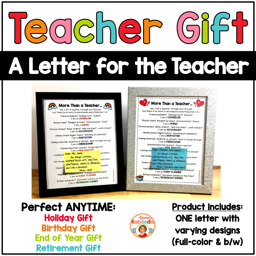 Teacher Gift: A Letter to the Teacher
