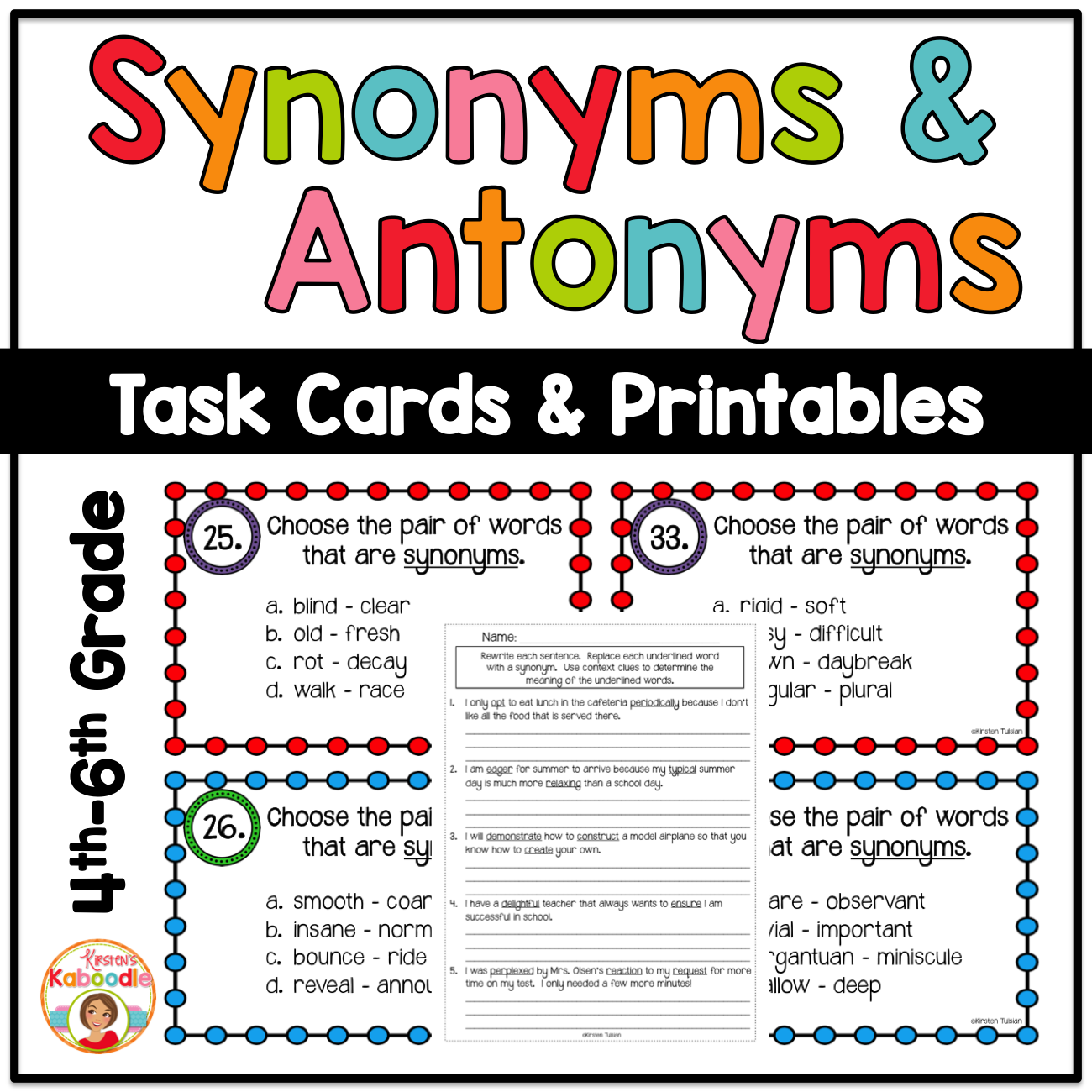 graphic regarding Printable Task Cards identified as Synonyms and Antonyms Printable and Activity Playing cards