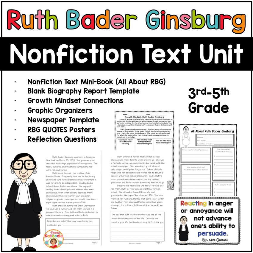 Ruth Bader Ginsburg Nonfiction Text Unit