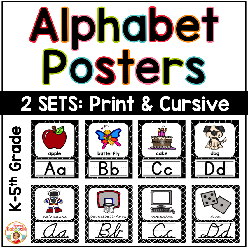 Alphabet Posters - Black and White Theme