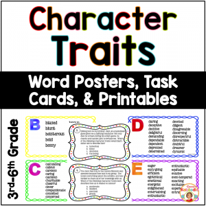 Character Traits Lists, Task Cards, and Printables