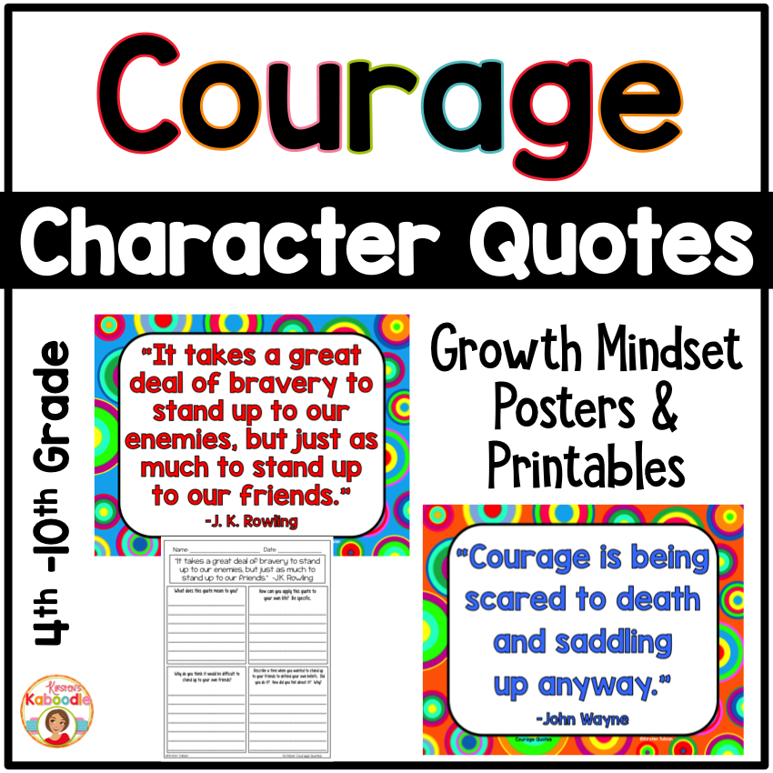 Courage Quotes Posters and Printables for Growth Mindset