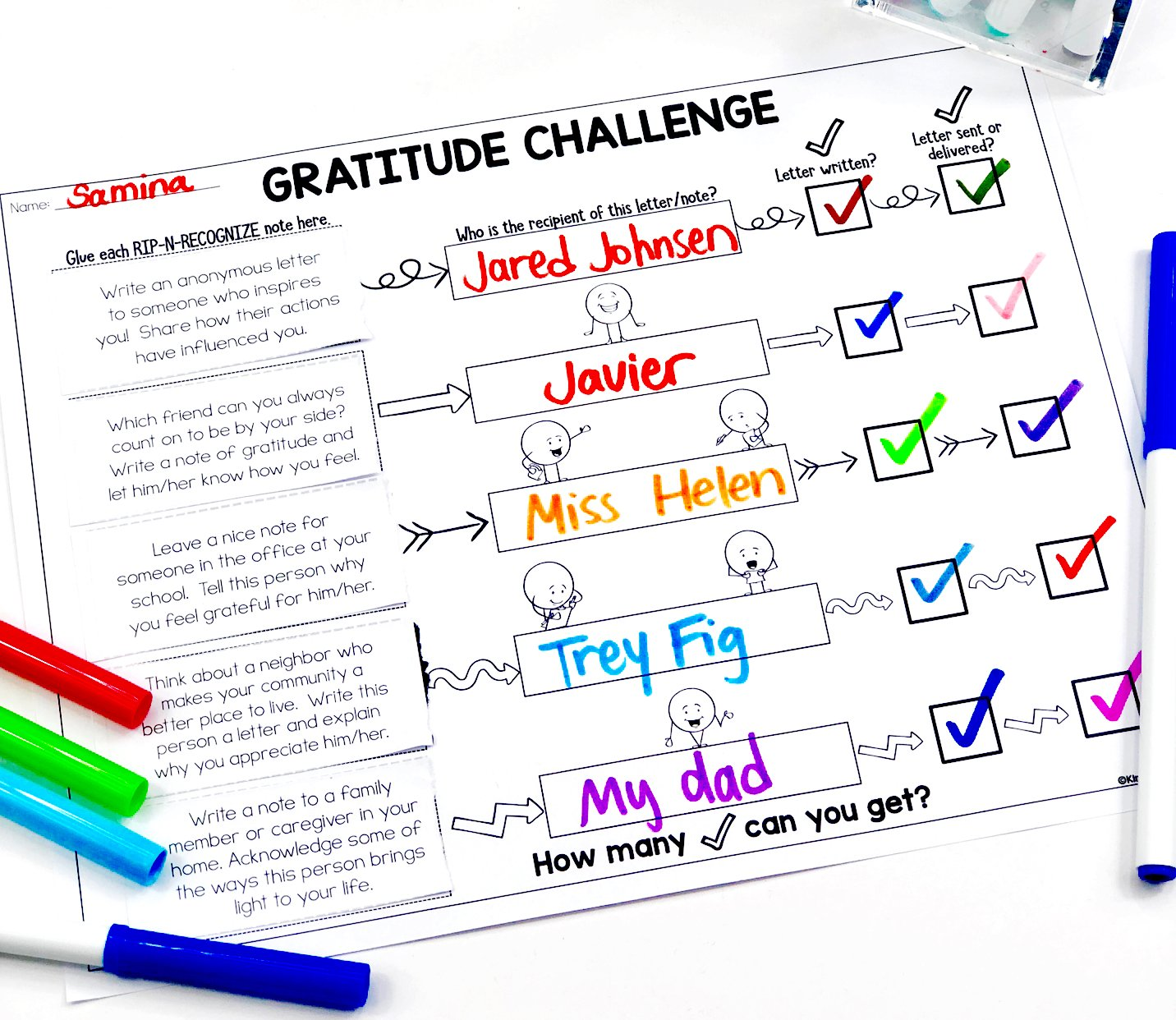 Gratitude Challenge: Rip-n-Recognize Gratitude Activities