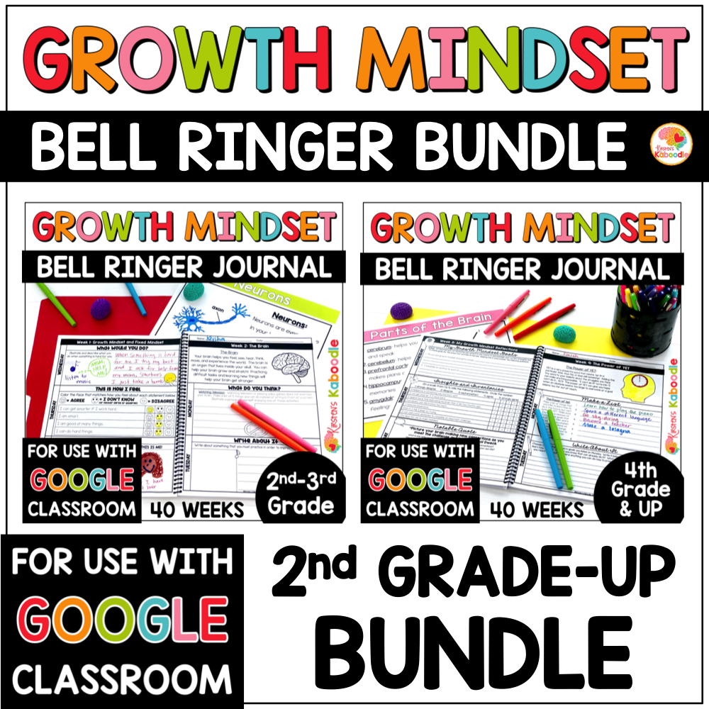 Growth Mindset Bell Ringer Journal BUNDLE for 2nd Grade and UP COVER