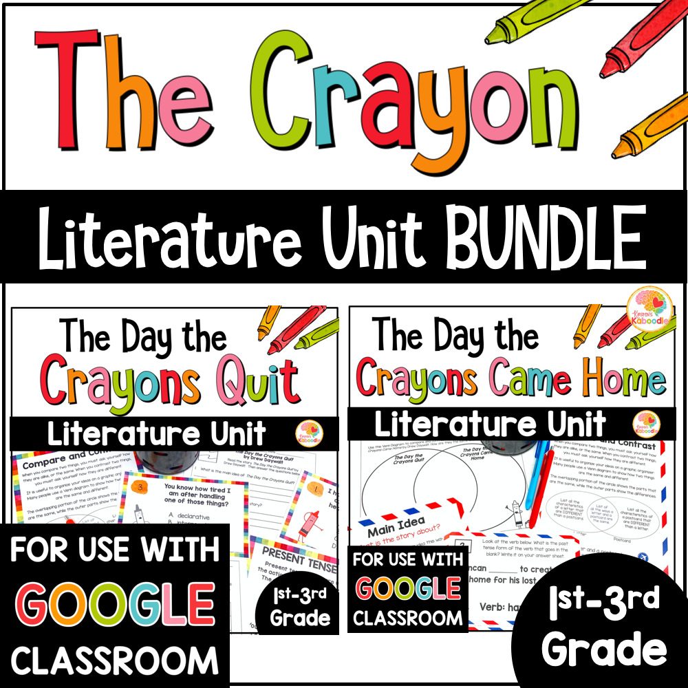 The Day the Crayons Quit and The Day the Crayons Came Home Activities BUNDLE COVER
